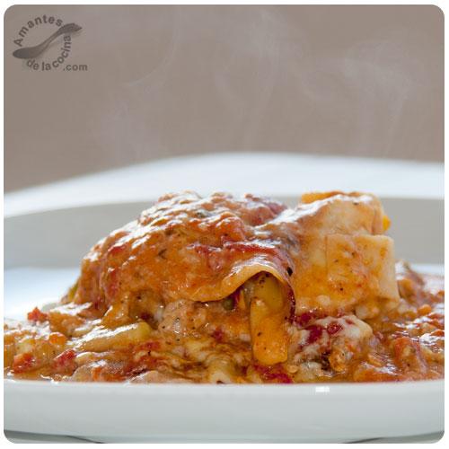 Lasaña (pasticho) de pollo y calabacín