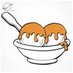 Helado de yogurt griego con mermelada de albaricoques