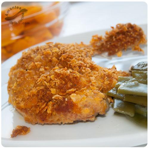 Muslos de pollo crujientes con Corn Flakes