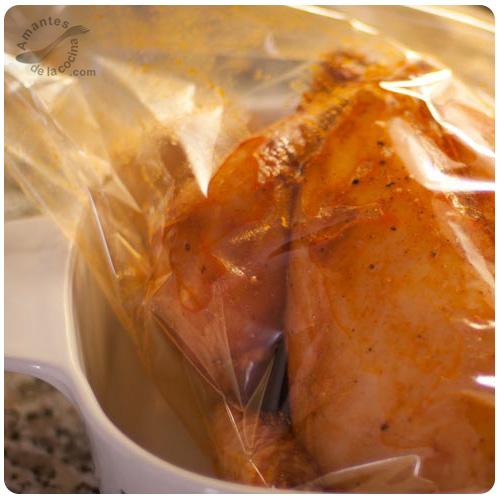 Asar pollo en bolsas especiales