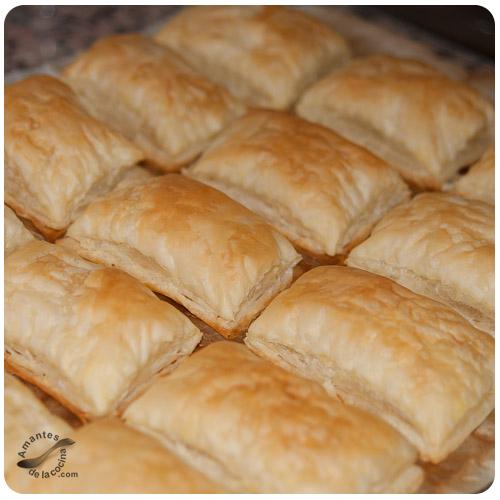 Pastelitos de hojaldre y natilla - Hojaldre horneado