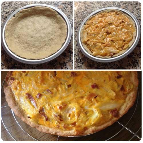Tarta de cebollas y chorizo - Elaboración