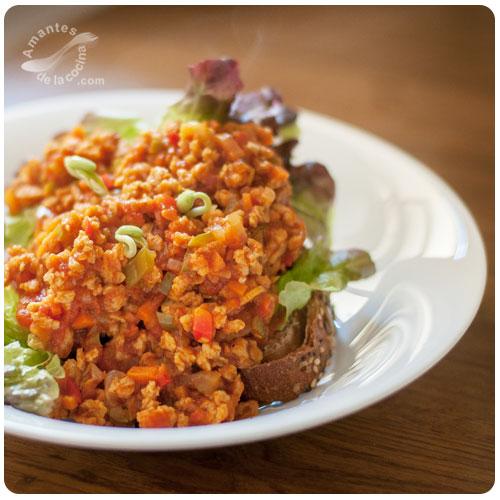 Bolonesa vegetariana con soja